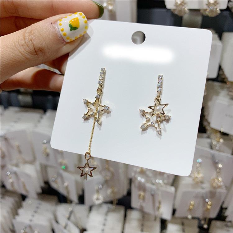 S925 aiguille étoile à cinq branches perles boucles d'oreilles gros bijoux femme longue tempérament joker chaîne d'asymétrie creuse goutte d'oreille oreille anneaux bohème