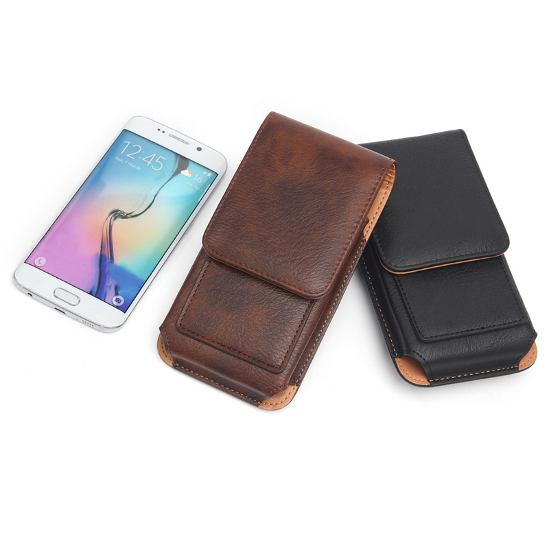 Rotating Belt Clip Phone Holster PU Leather Pouch Carrying Cover Card Slots Hanging Waist Bag for iPhone For Samsung For Huawei