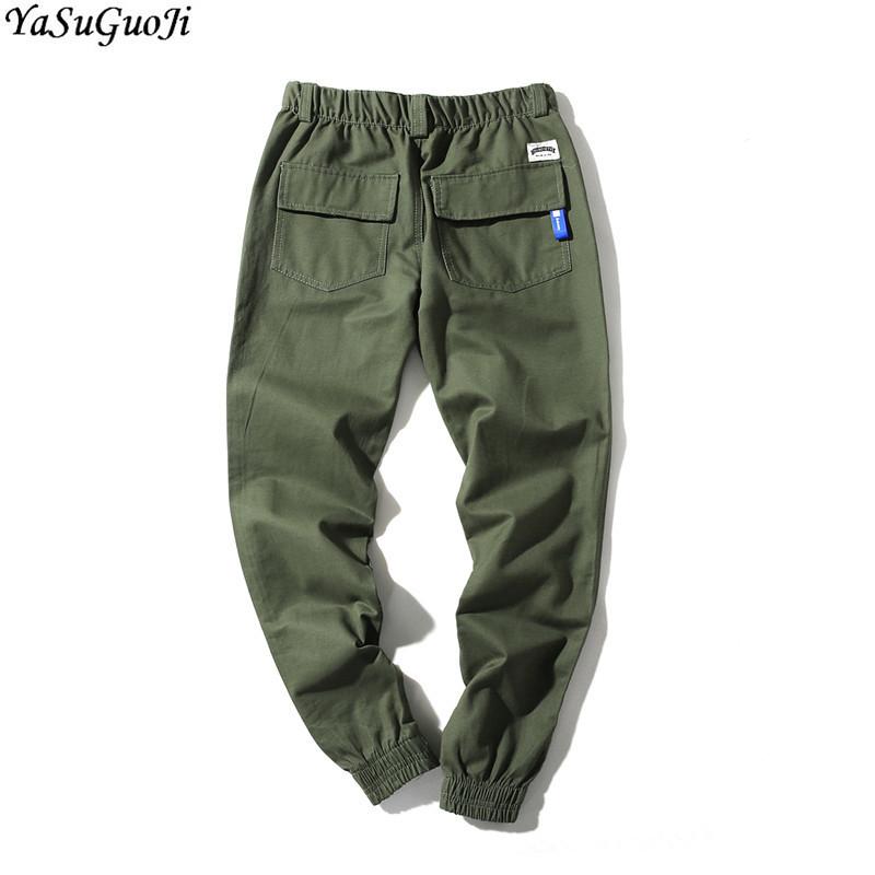 YUNY Men Loose Athletic Plus Size Breathable Elastic Waist Beam Foot Pants Navy Blue XL