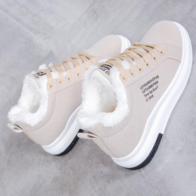 NAUSK 2019 Winter Women Shoes Warm Fur Plush Lady Casual Shoes Lace Up Fashion Sneakers Zapatillas Mujer Platform Snow Boots CJ191228 Shoes Online