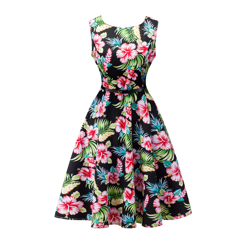 Kostlish 2017 New Summer Dress Women Floral Print Audrey Hepburn 50s 60s A-Line Vintage Dress Sleeveless Party Dresses Plus Size (69)