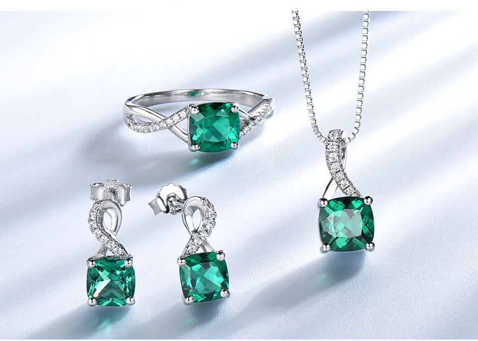 UMCHO Emerald 925 sterling silver jewelry sets for women S027E-1 pc (5)