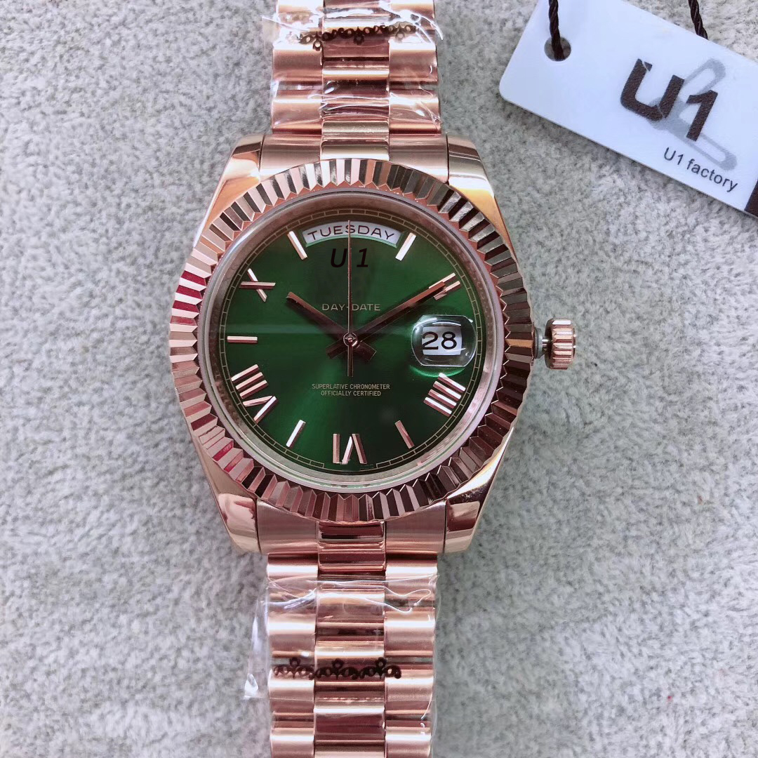 Rose Gold President Bracelet Date Mens Watches 40MM Luminous Green Dial Watch Scratch Resistant Sapphire Crystal Automatic Wristwatches