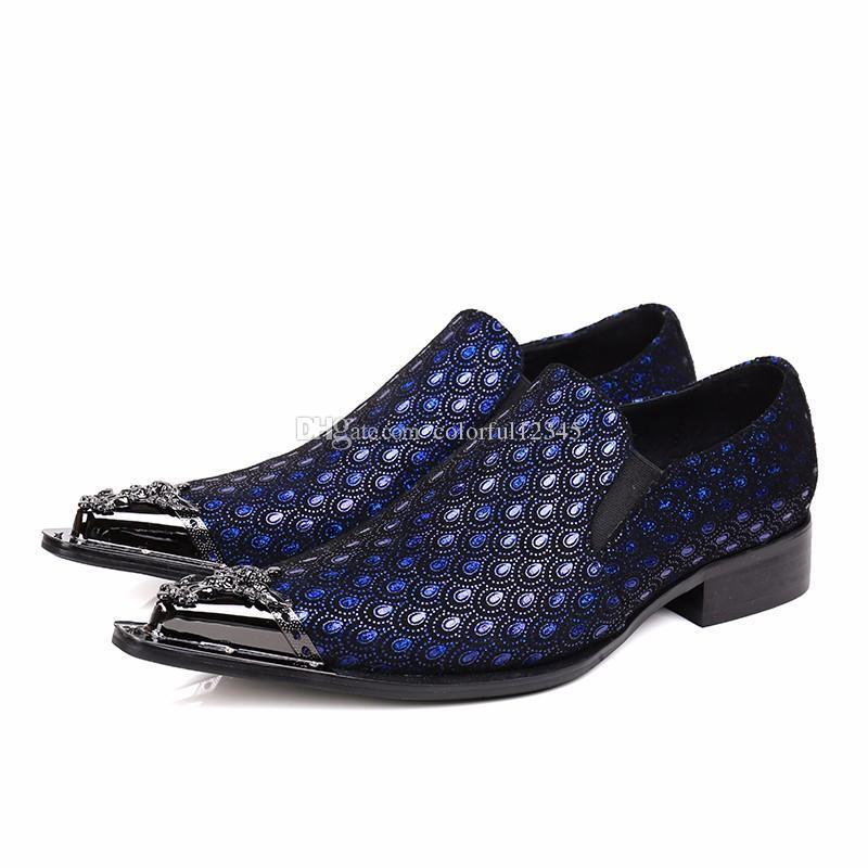 Sexy2019 Pop Luxury Blue Silver Loafers Genuine Leather Mens Formal Oxford Shoes For Men Plus