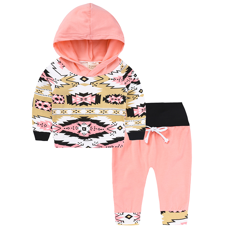 2018 kids girls casual suits cute baby girl geometric hooded+High Waist pant 2pcs clothing set spring children outfit set