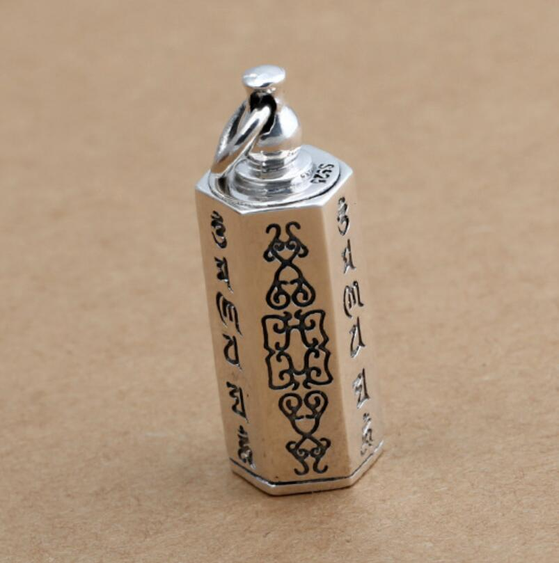 925 sterling silver glossy six-word mantra box male and female pendant FGL