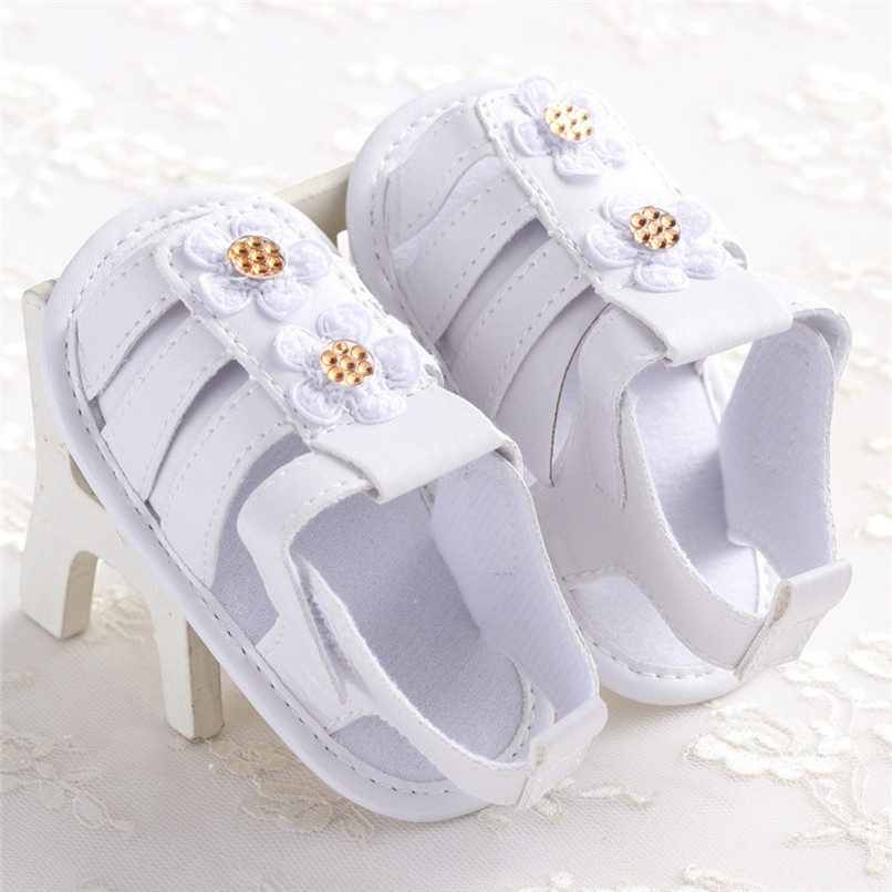 Summer Baby Girl Shoes Toddler Newborn Baby Girls Solid Flower Sandals Soft Sole Anti-slip Shoes Baby Girls Sandals M8Y16 (5)