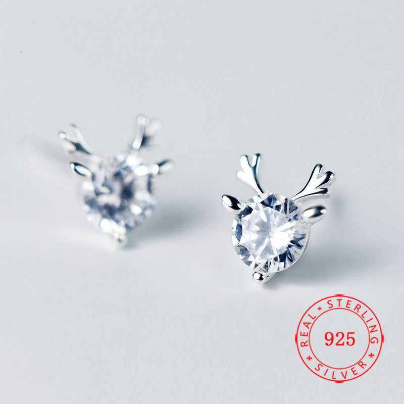 Sterling Silver 10x7mm Small 3D Detailed Moose Studs Earrings!