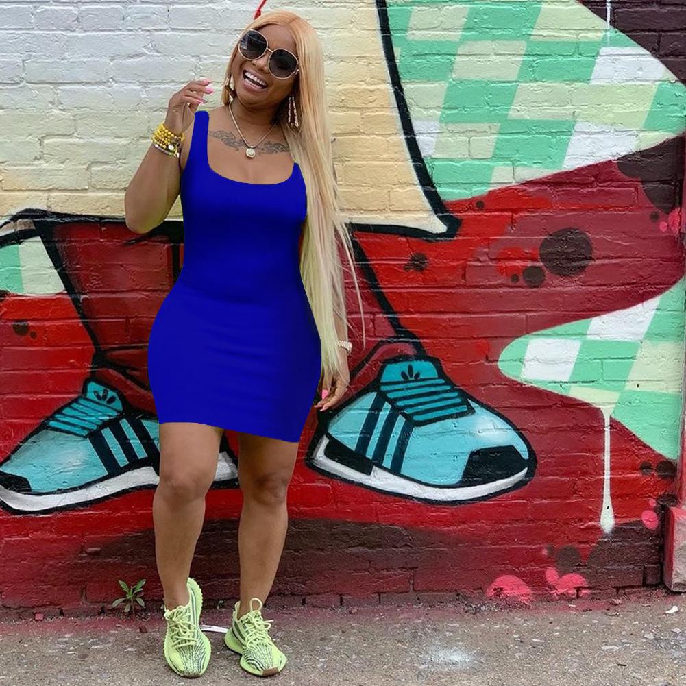 Women summer casual dresses Spaghetti Strap fashion stylish sleeveless bodycon sheath column natural candy color above knee plus size 618
