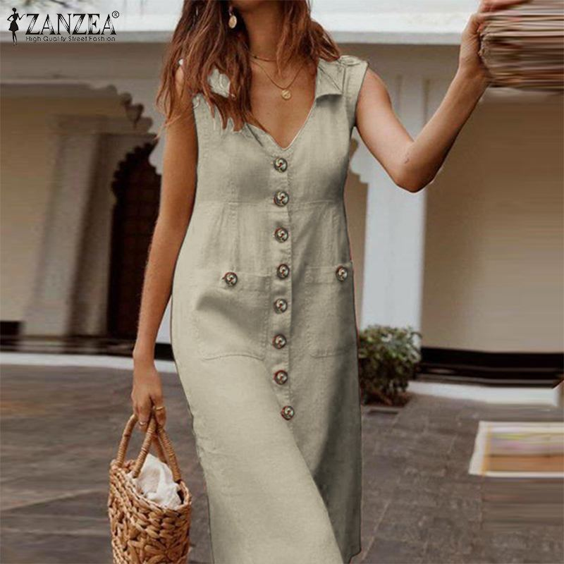 Womens Summer Tank Dresses Casual O-Neck Sleeveless Button Solid Mini Straight Dress with Pockets