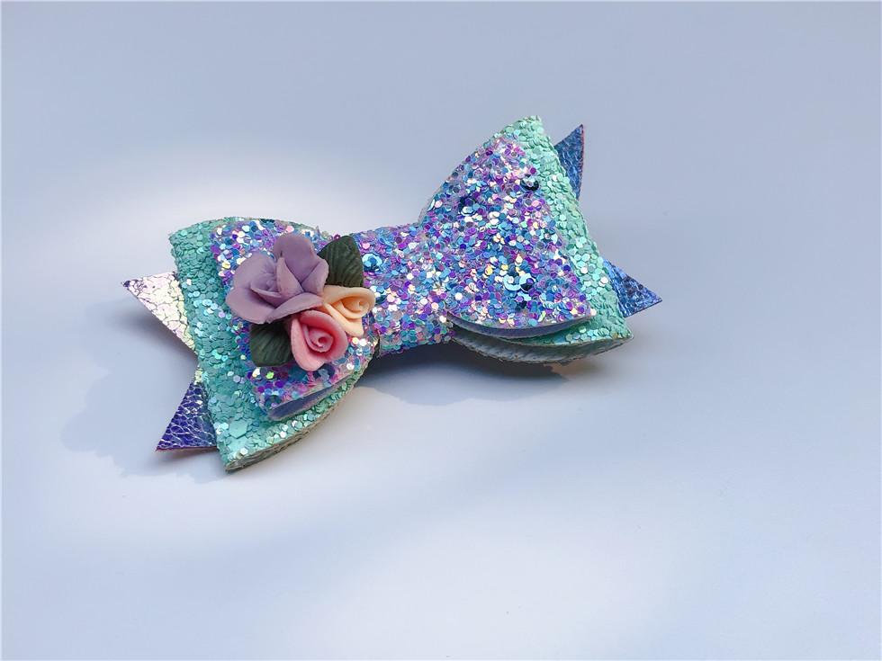 Boutique ins Fashion Cute Glitter Floral Bow Hairpins Solid Flower Bowknot Hair Clips Princesss Headwear Hair Accessories