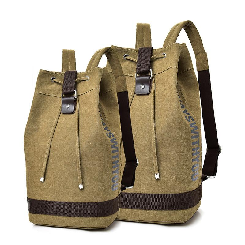 Large Capacity Rucksack Men Travel Bag Luggage Canvas Bucket Shoulder Backpacks