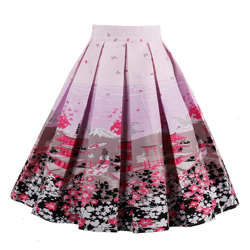 Kostlish Retro Print Flower Summer Skirts Womens High Waist Vintage Skirt Elegant A-Line Midi Women Skirt Plus Size XXL 22 (8)