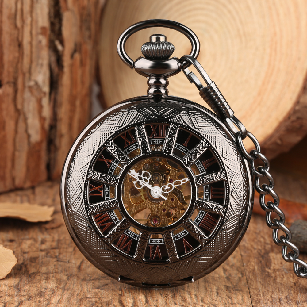 Vintique Necklace Men's Pocket Watch, Black Steampunk Skeleton Mechanical Pocket Watch for Man, Clock Pocket Watches for Boys
