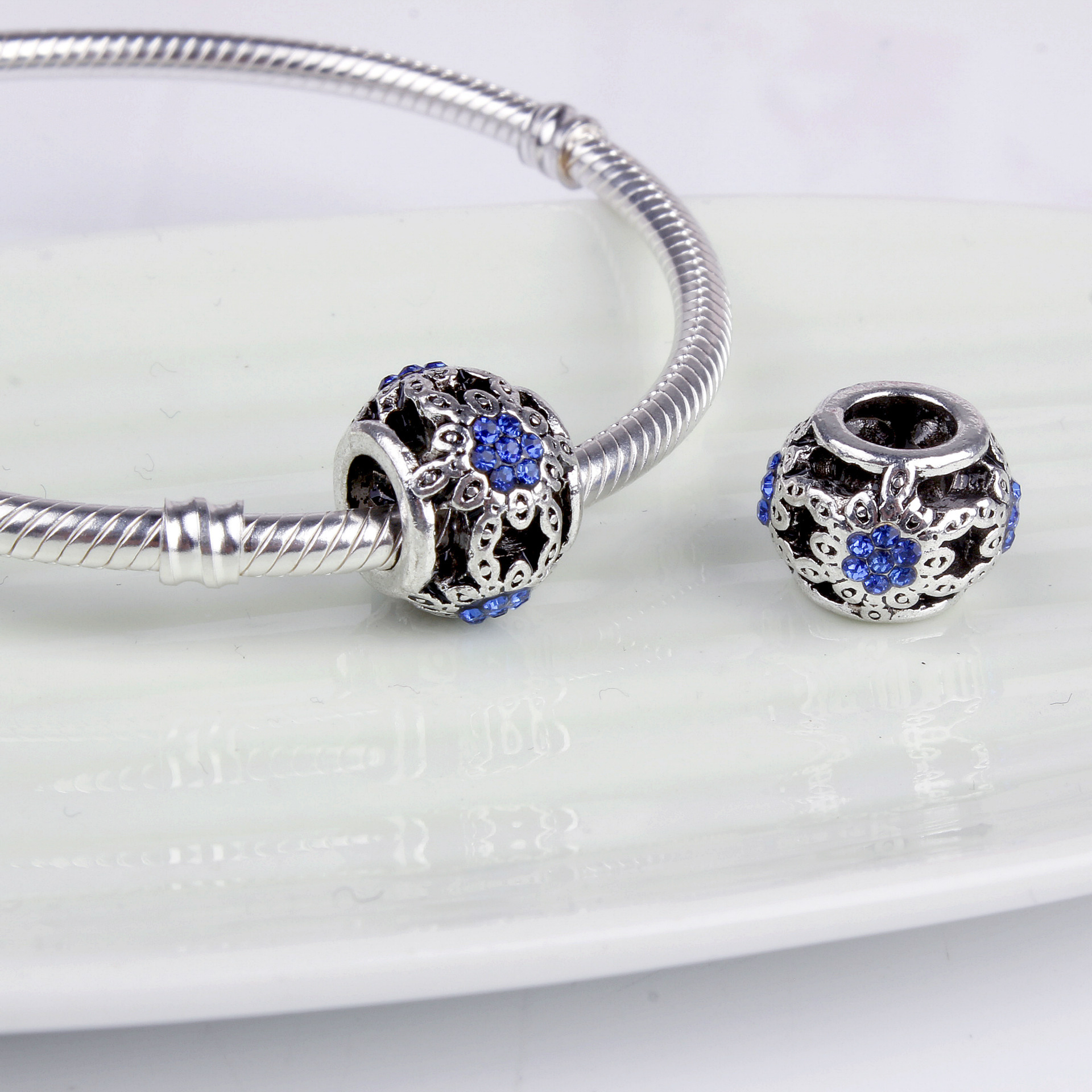 New treasure blue crystal bead bracelet accessories big hole beads for 3MM snake chain jewelry Diy beads QB12