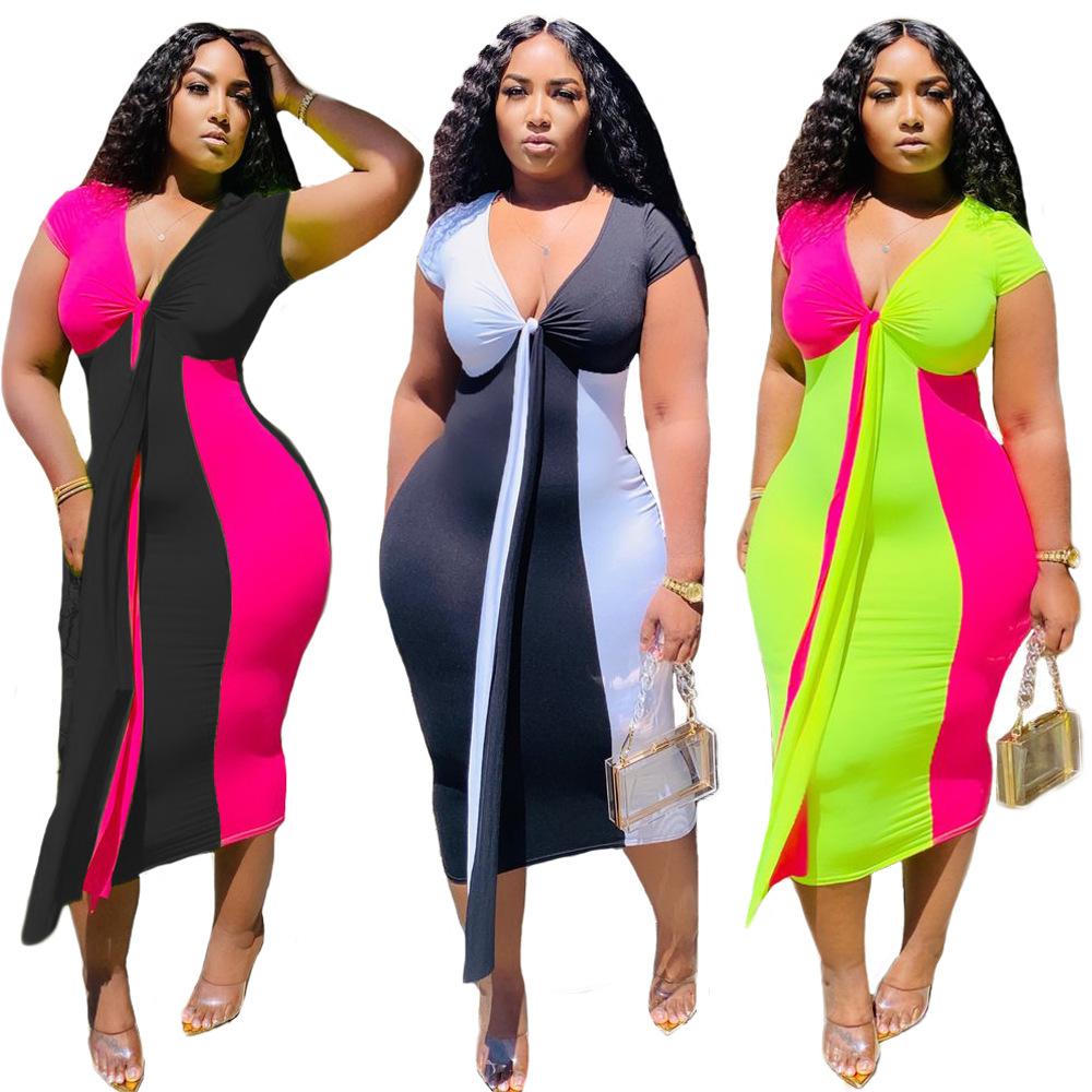 designer-frauen-kleidung 2020 sommer-reizvoller bodycon beiläufiges kleid  elegante panelled tiefer v-ausschnitt druck mittlere wadenlänge