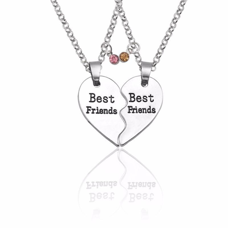 2PCS//Set cœur brisé meilleures amies femmes Pendentif Colliers Charme Best Friends Forever Amitié
