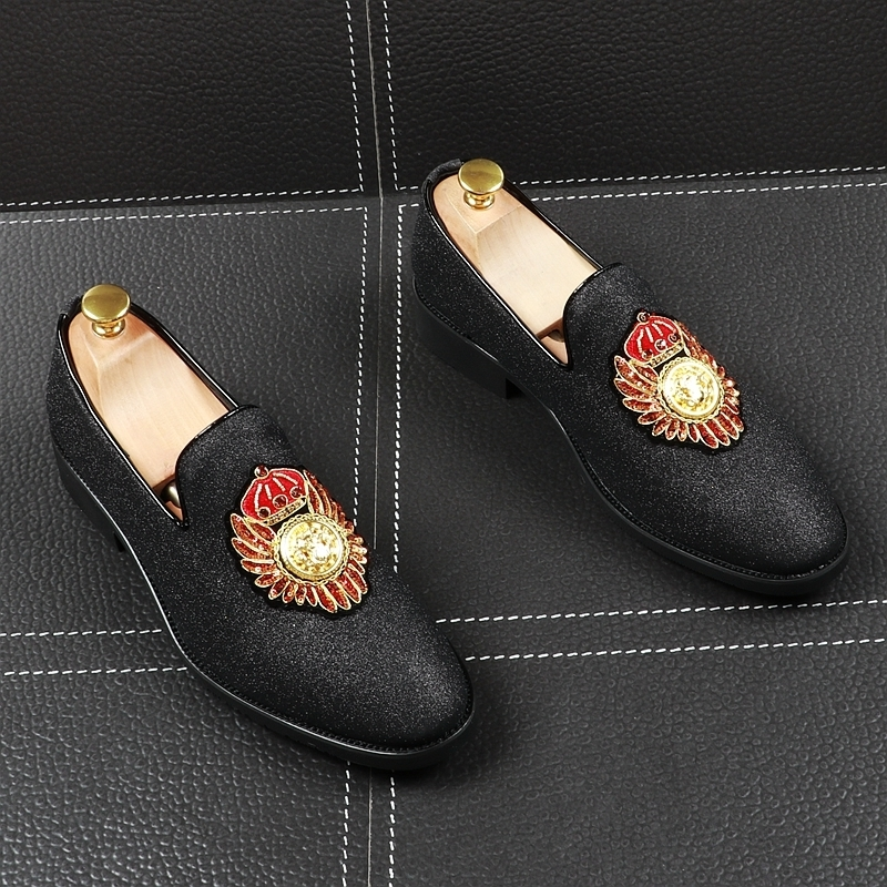Fairy2019 Man Sharp Set Foot Dawdler Shoe England Small Leather Paillette Rhinestone Hairstyle Designer Shoes Within Increase