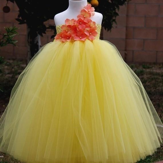 Yellow-Princess-Girl-Tutu-Dress-Flower-Girl-dress-Girl-Party-Dress-Girl-Dress-For-Wedding-Birthday