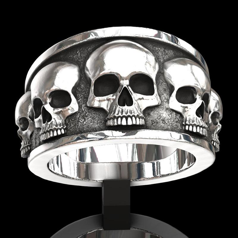 316 L acier inoxydable Fleur Sculpté Crâne Homme Biker Anneau Noir Argent Gothique