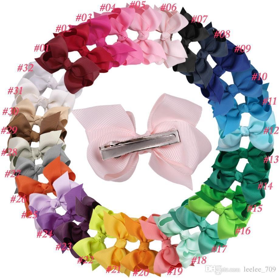 Hot Sale Korean 3 Inch Grosgrain Ribbon Hairbows Baby Girl Accessories With Clip Boutique Hair Bows Hairpins Hair Ties