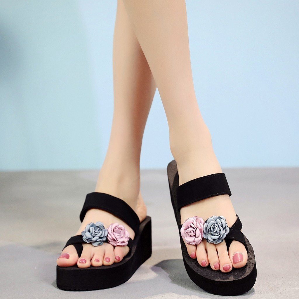 1Summer Flip Flops Women Flower Wedges Slippers Beach Sandals Women Indoor Platform Slippers Casual Shoes