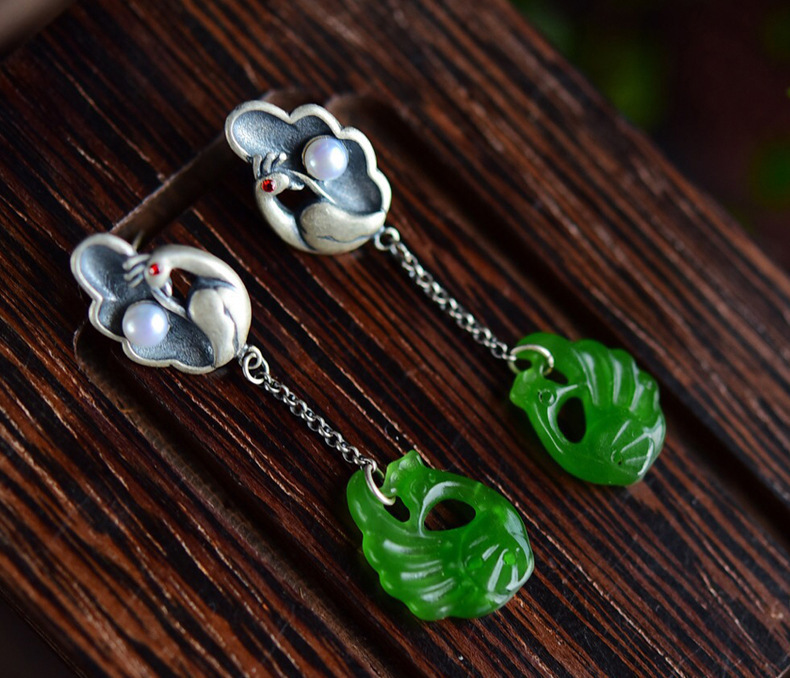 925 Silver Peacock Pearl Natural Jasper Nation Wind Temperament Grace Women Earrings Geometric Earrings