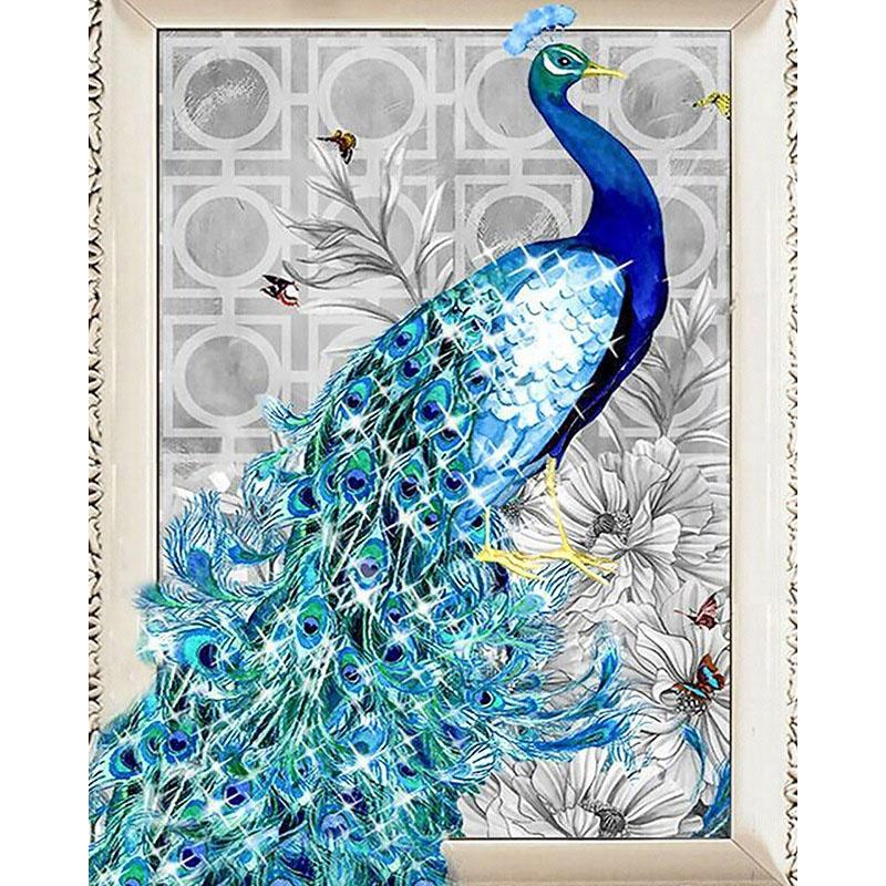 Round Tablecloth Peacock Peacocks Feathers Diamond Grey Silver Cotton Sateen
