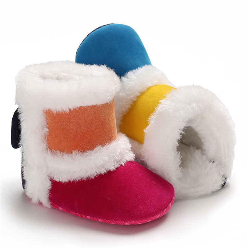1 Pair Baby Girl Boots Baby Girl Splicing Soft Sole Snow Boots Soft Crib Warm Shoes Toddler winter Boots bota infantil D10 (13)