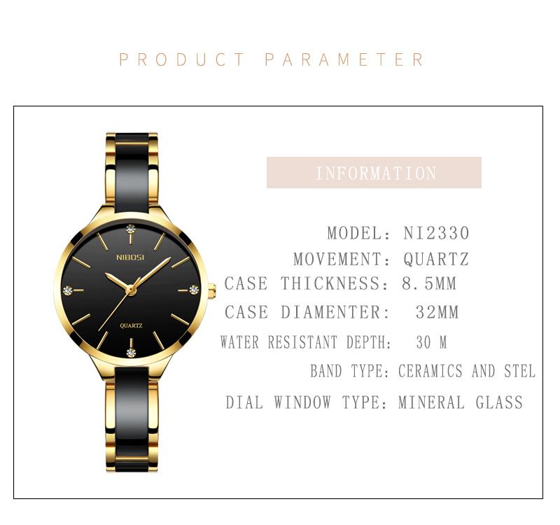 Relojes Para Mujer NIBOSI Women Watches Bracelet Watch Ladies Wrist Watch Women Waterproof Fashion Casual Crystal Dial Rose Gold (5)