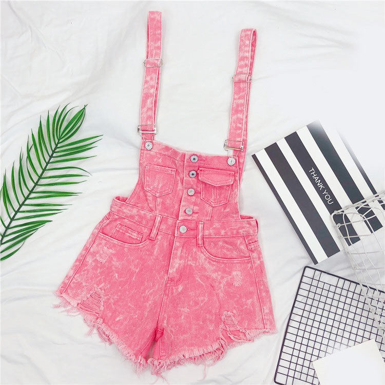 The new loose-fitting Korean version of the springsummer 2017 denim suspenders for female students shows a trend of slim, worsted fringed tassel shorts (5)