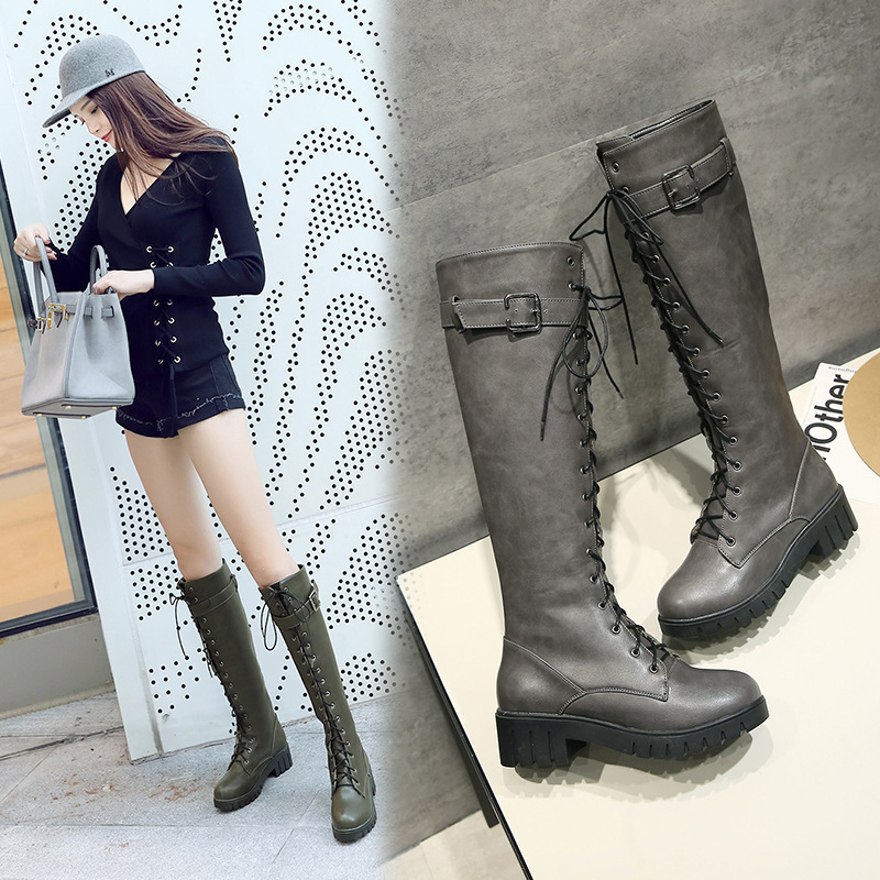 Women's Lace Up Knee High Boots Thick Bottom High Heel Platform Combat Boots Black Green Gray Plus Size