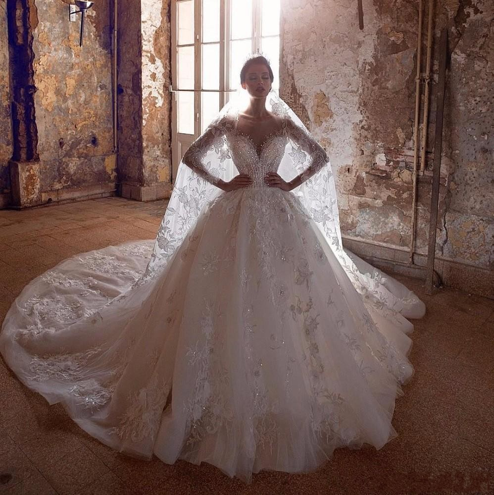 Tenture Africaine Grande Taille nouveau design moderne bal robe de mariage arabe chérie cristal dentelle  perlée manches longues sparkly africaine taille plus formelle robes de  mariée