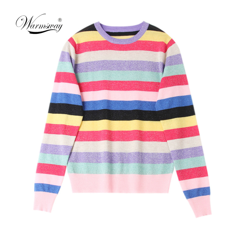 Rainbow Colorful Stripe Print Women Casual Sweaters 2019 Fashion O-neck Knitwear Loose Pullovers Lurex Jumper Pull B-169