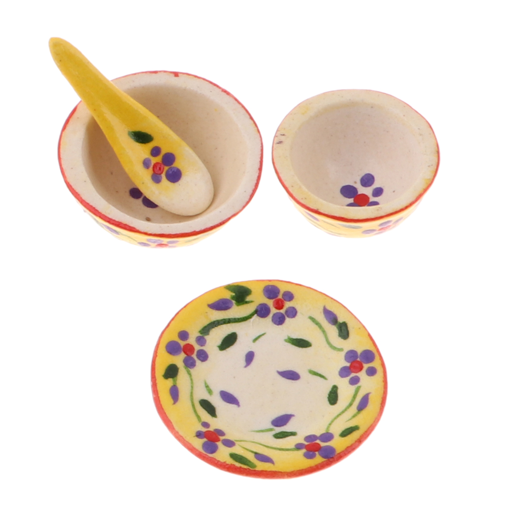 1/12 Dolls House Dining Room Decoration - Miniature Ceramic Tableware Set Dinnerware Toys Kids Pretend Play Toy Random Color