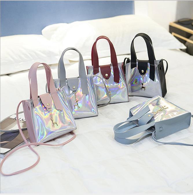 Frauen Tote Casual Handtasche Transparent PVC Klar Jelly Clutch Einhorn Freizeit