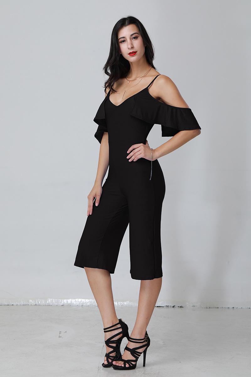 Seksi Giyim Kadın Derin V Straplez Yüksek Bel Yapışık Pantolon 1382