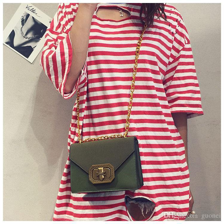 Nice Pop Listing Vintage Frosting Women Chain Single Shoulder Messenger Hand Bag Female Pu Shoulder Bag Black/yellow/green Vogue