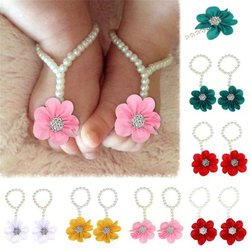 Baby Fashion Feets Accessories 1Pair Infant Pearl Chiffon Baby Sandals Newborn Barefoot Toddler Foot Flower Beach Sandals M8Y28 (1)