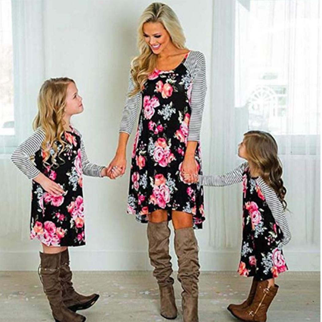 Мода Родитель-ребенок Милое О-образным вырезом с длинным рукавом в полоску с принтом Нерегулярное платье с подолом Новое платье для родителей и девочек Девушки Женщины