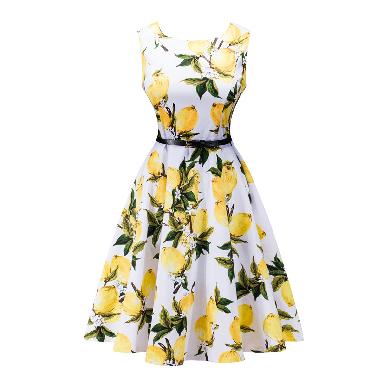Kostlish 2017 New Summer Dress Women Floral Print Audrey Hepburn 50s 60s A-Line Vintage Dress Sleeveless Party Dresses Plus Size (25)