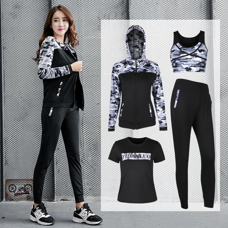 Women 5 Piece Yoga Set for Running T-Shirt Fitness Bra Sports Wear,4pcs Set Gray,XL