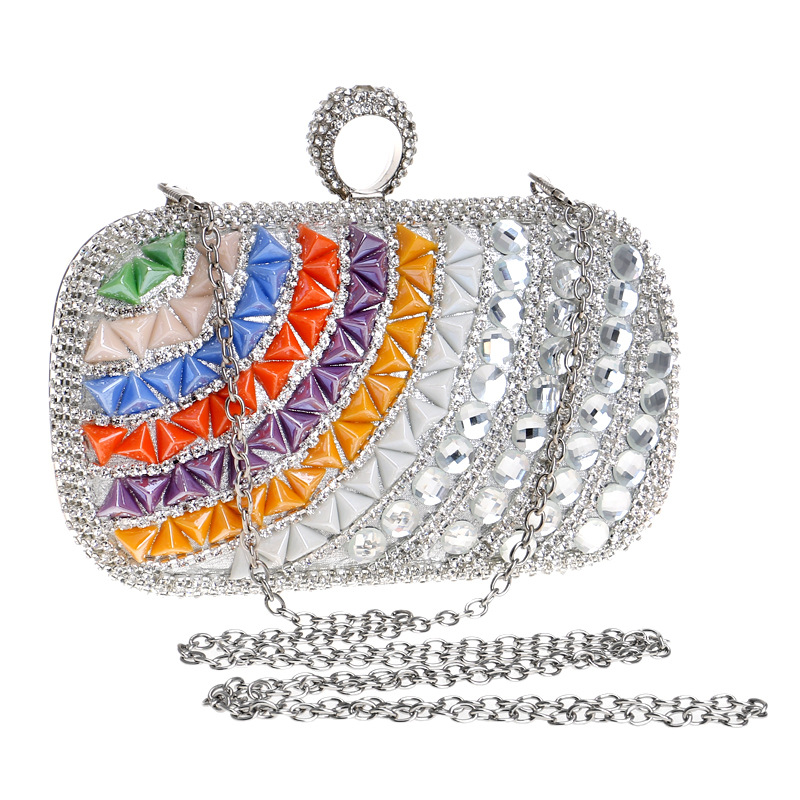 Kadın Debriyaj Çanta Akşam Çanta Moda Lüks Rhinestone Kristal Inci Zarif Düğün Parti Bayan Çanta Omuz Çantası 009