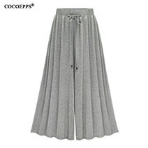 Summer-Elegant-Elastic-Women-High-Waist-Ruffled-Chiffon-Wide-Leg-Pants-Big-Size-Loose-Flared-Pants