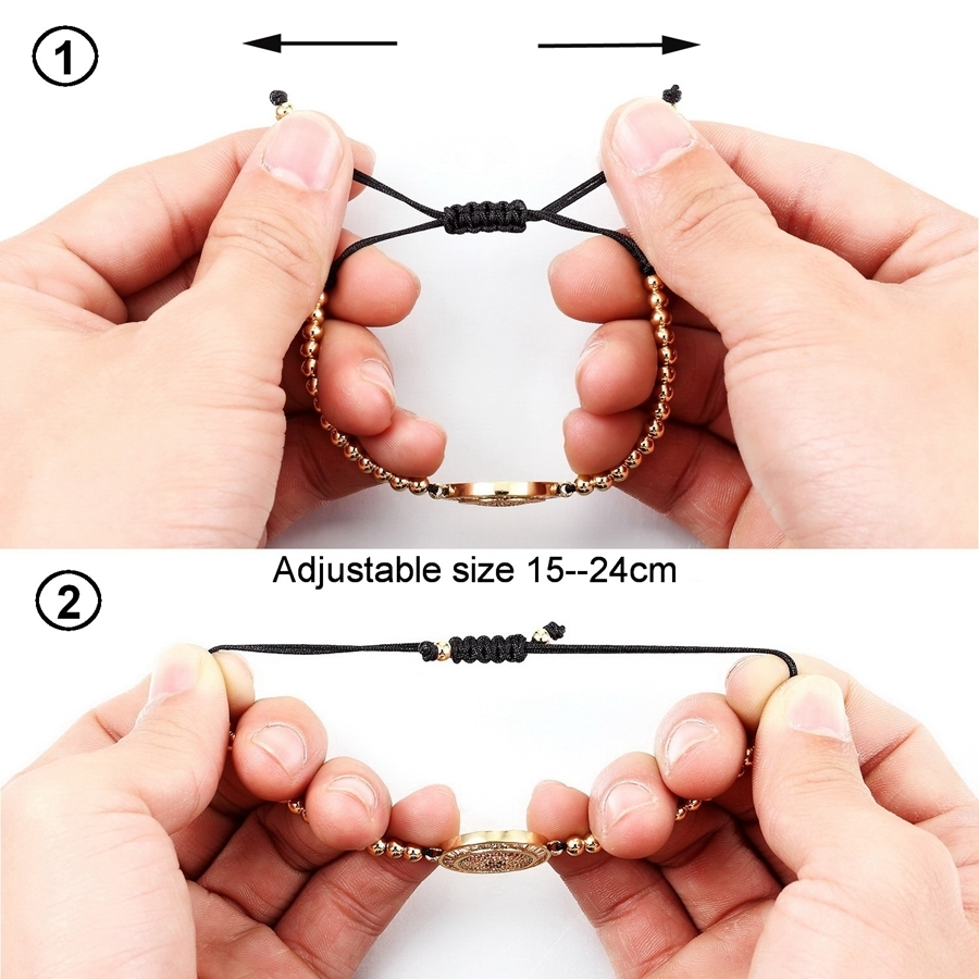 Black Color Of Rope From Special Design Eyes With Cubic Zircon 4mm Beads Women Bracelet For Birthday Party Present Discount