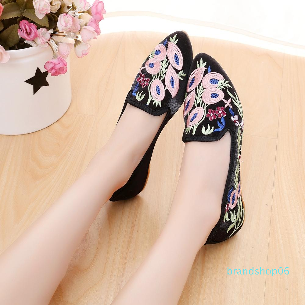Couleur : Vin Rouge, Taille : 35 XHX Chaussures Brod/ées Plates pour Femmes Chaussures en Tissu Chinois Vintage Chaussures /Él/égantes pour Ballerines