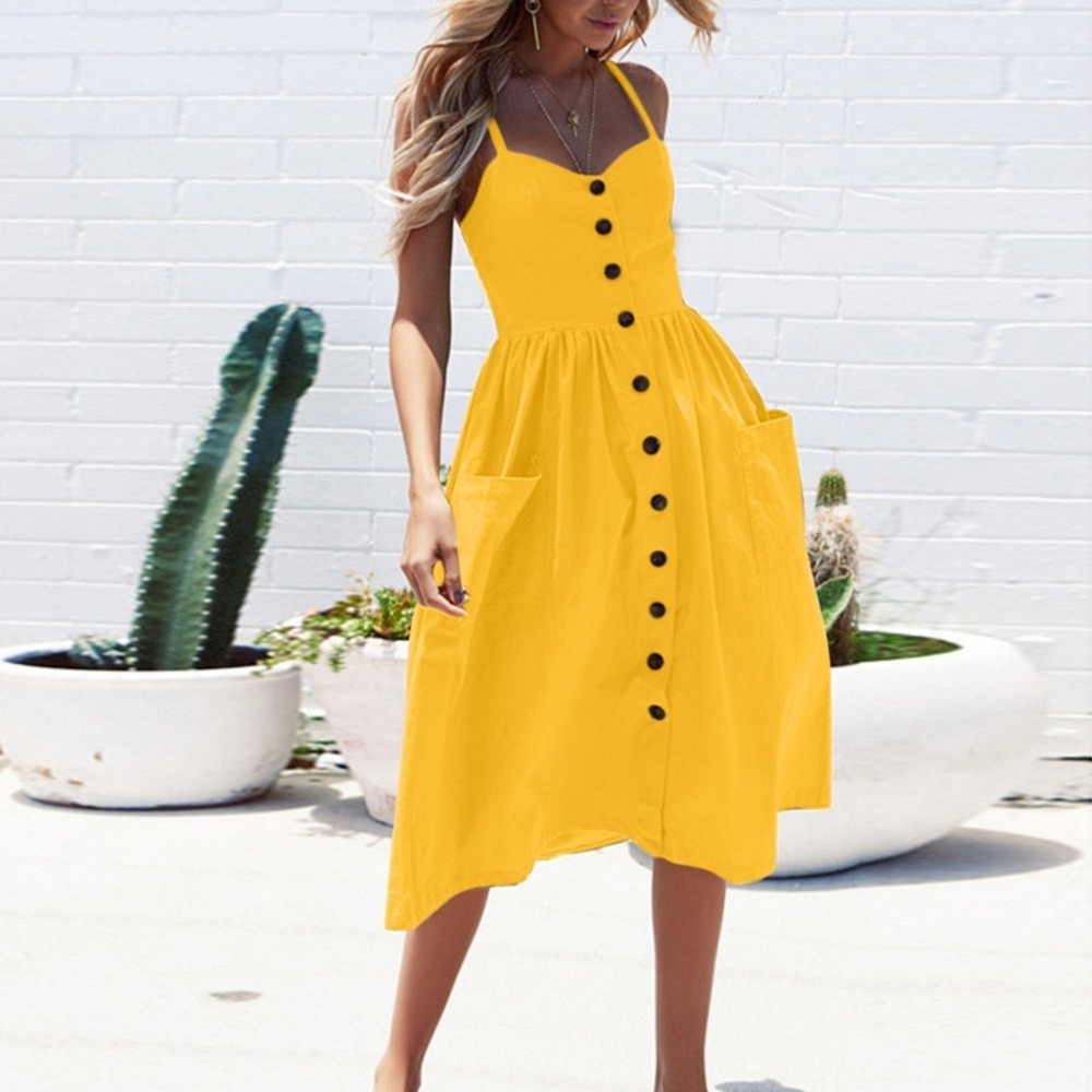 Limiss-Elegant-Button-Women-Dress-Pocket-Polka-Dots-Yellow-Cotton-Midi-Dress-Summer-Casual-Female-plus