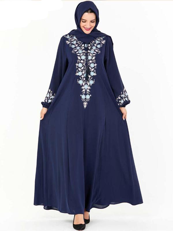 RICAMO Musulmano Abaya Maxi Abito Due Pezzi Vestito Cape Full-LENGHT lunghe robe