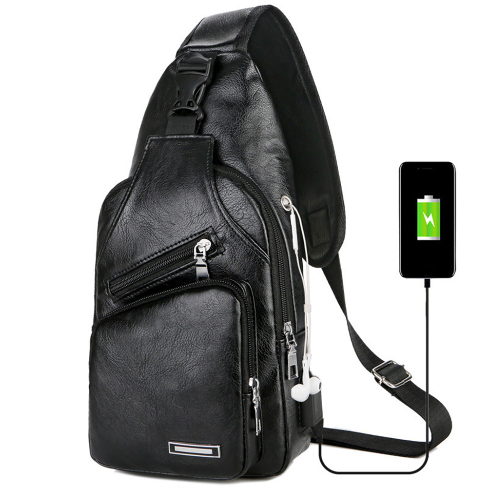 Leisure Leather USB Charge Man Shoulder Bag Zipper Men Chest Pack Headphone Hole Functional Travel Crossbody Leather Bags Y190612