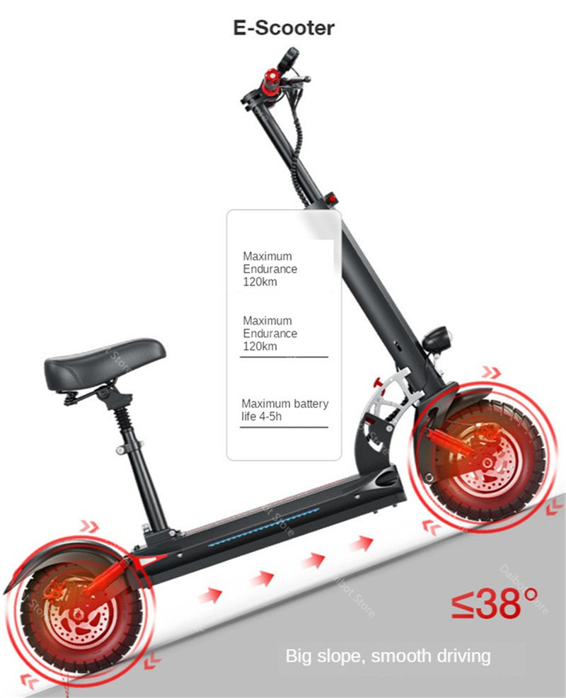 Double Drive Electric Scooter Off Road 2 Wheels Electric Scooters 10 Inch 48V 1200W 45KMH Folding Kick Scooter For Adult (32)